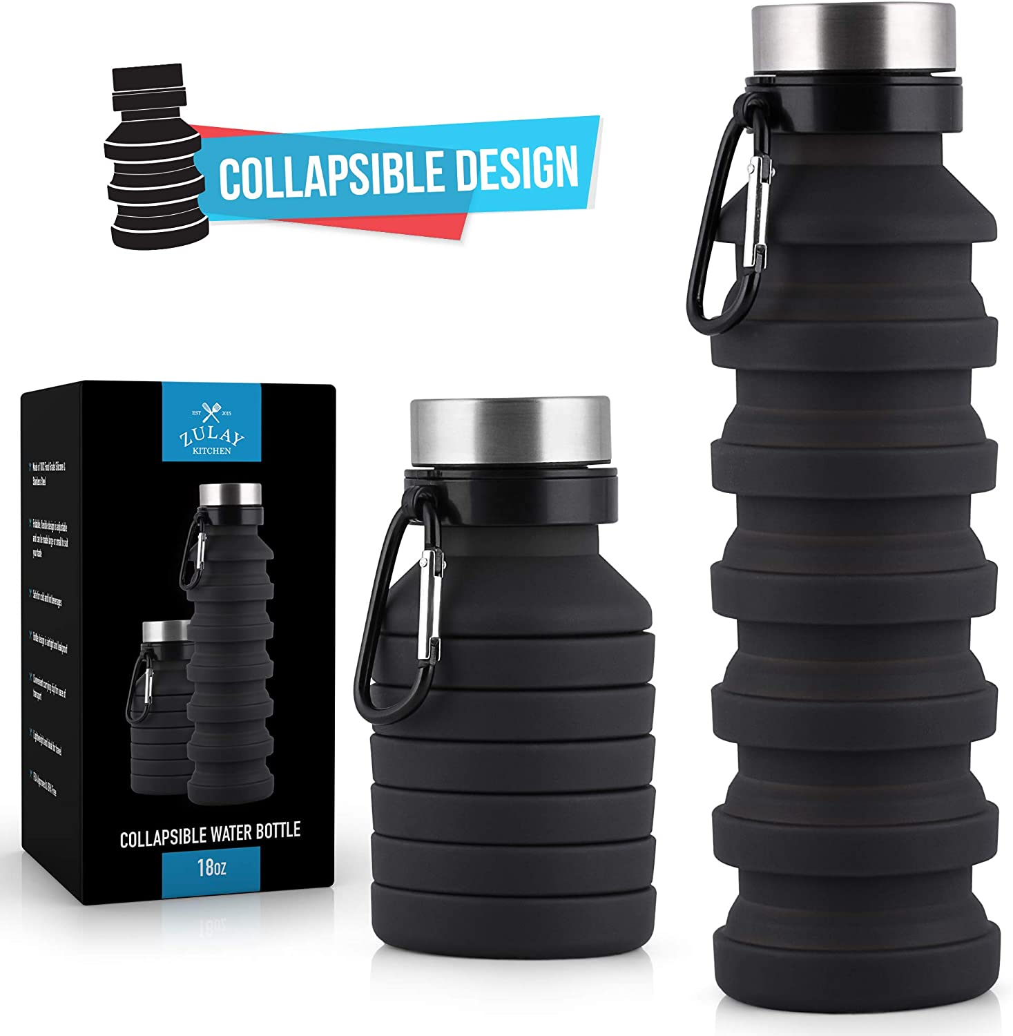 Pretty Waist Collapsible Water Bottle to Travel Foldable Jug for Hiking Camping or Backpacking