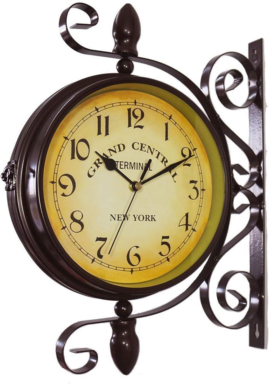 Bulaxxooo Outdoor Garden Wall Clock, 15 Inch Classical 360°Rotation Double Sided Train Station Clock with Station Bracket Garden Clock Indoor Outdoor Decoration Waterproof Outdoor Clock