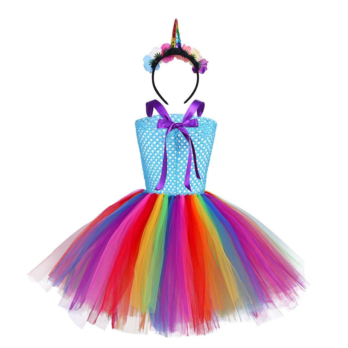 dPois Vestido de Unicornio Fiesta Boda Ni/ña Tutu Princesa Disfraz de Cosplay Conjunto con Diadema Traje de Ceremonia Carnaval Bautizo Cumplea/ños Comuni/ón Actuaci/ón 2-12 A/ños
