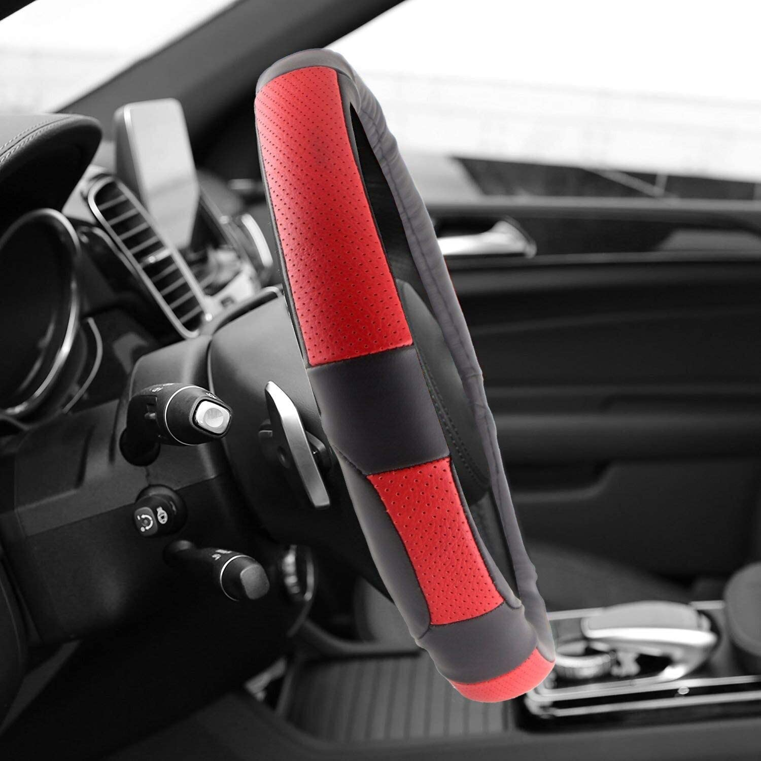 Breathable Black and Red Universal Fit Spurtar Genuine Leather Steering Wheel Cover for 14 1//2 to 15 inch Auto Car Truck SUV Van Anti-Slip Grip Odor Free