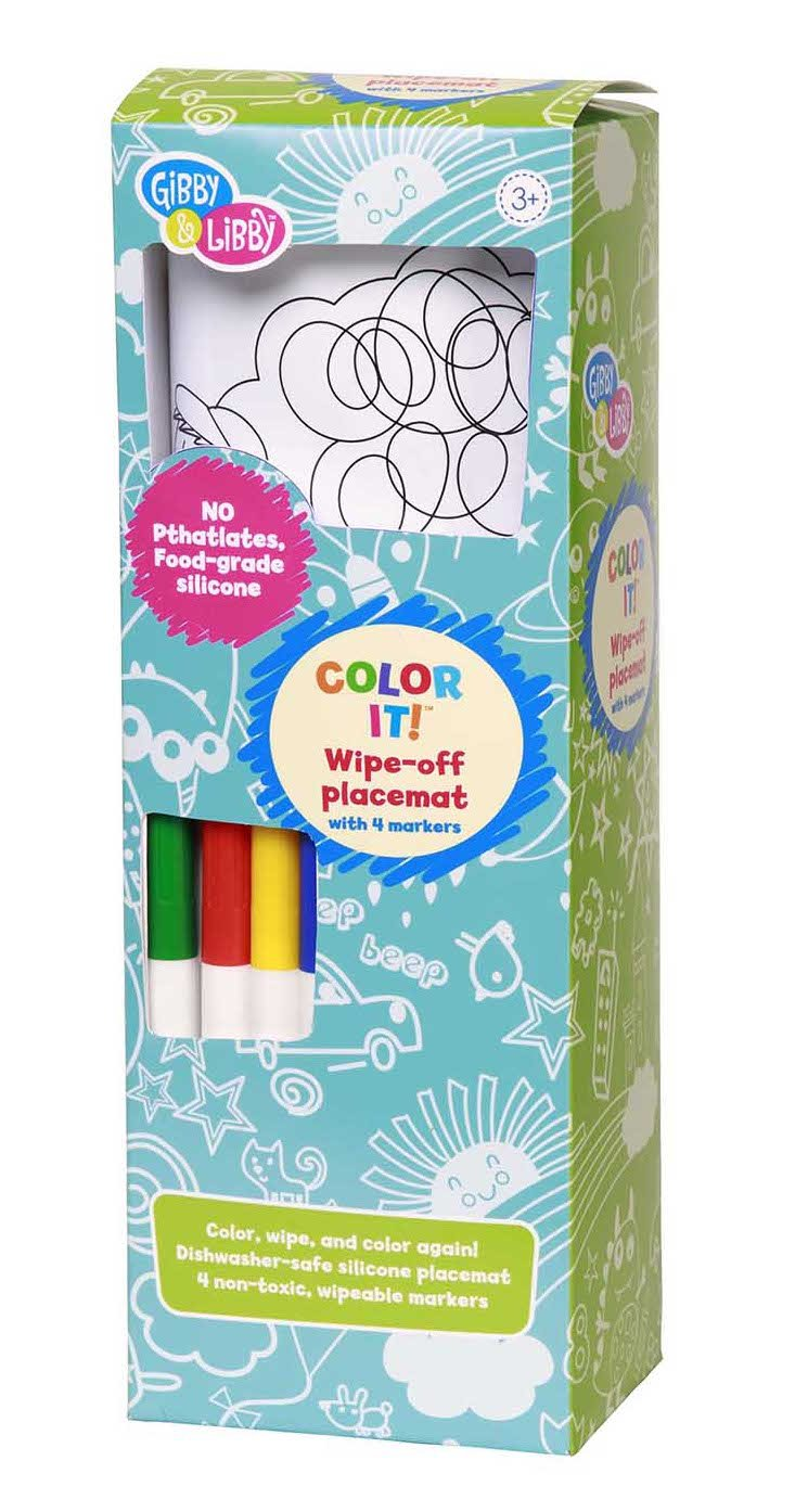 Gibby & Libby Outdoor Fun Wipe-Off Silicone Placemat with Markers by C.R. Gibson