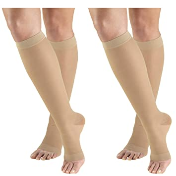 0bc4dce9f40 Image Unavailable. Image not available for. Color  Truform Compression 15-20  mmHg Sheer Knee High Open Toe Stockings ...