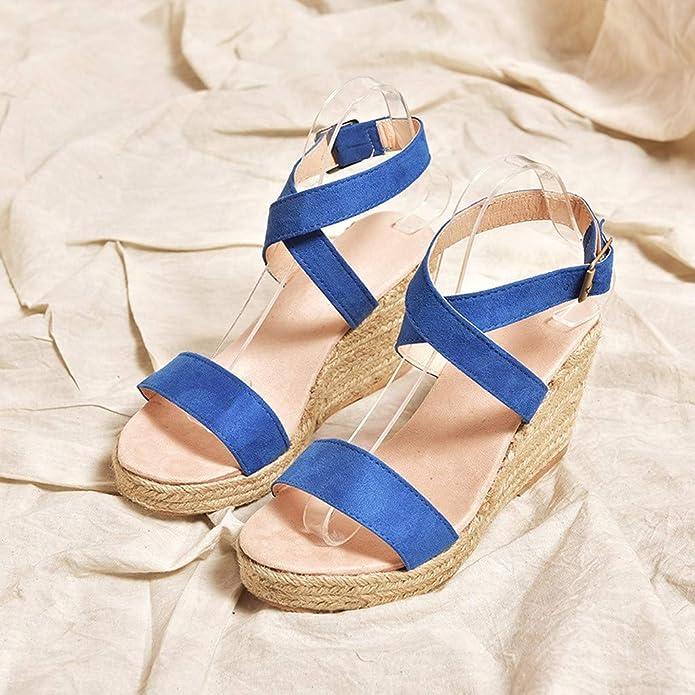 Luckycat Sandalias Mujer Cuña Alpargatas Plataforma Bohemias Romanas Mares Playa Gladiador Verano Tacon Planas Zapatos Zapatillas Sandalias y Chancletas de ...