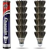Philonext Pack de Volants de Badminton en Plumes d'oie avec Une stabilité et Une durabilité exceptionnelles, balles de Badminton à Haute Vitesse (Noir)