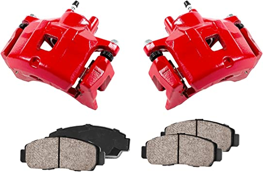 Callahan CCK01161 FRONT Performance Loaded Powder Coated Red Caliper Assembly Quiet Low Dust Ceramic Brake Pads 2
