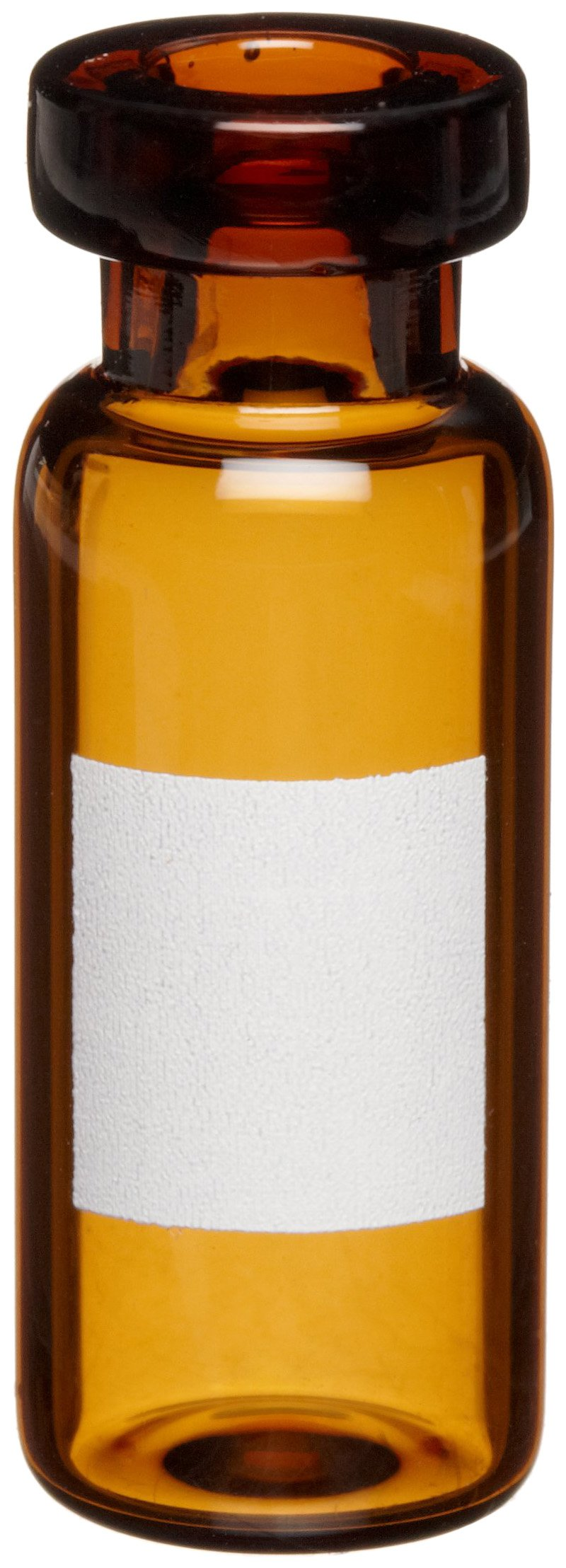 Wheaton 223692-01 Borosilicate Glass 1.5mL Standard Crimp Top Vial, with Writing Patch, Amber (Case of 1000)