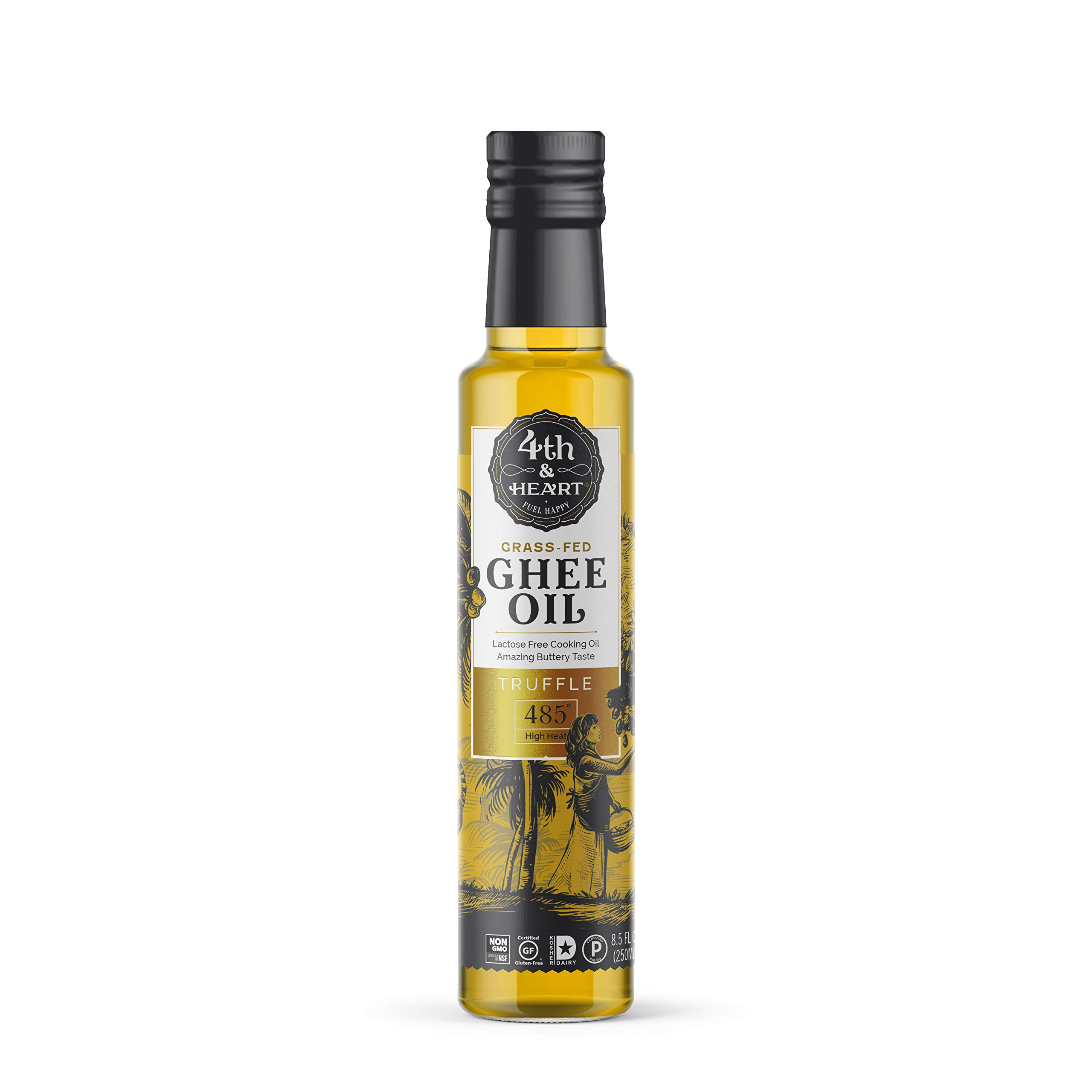 Truffle Grass-Fed Pourable Ghee Oil by 4th & Heart, High Heat, Non-GMO Verified Hybrid Oil, Certified Paleo and Keto, Lactose Free, 8.5 ounces by 4th & Heart