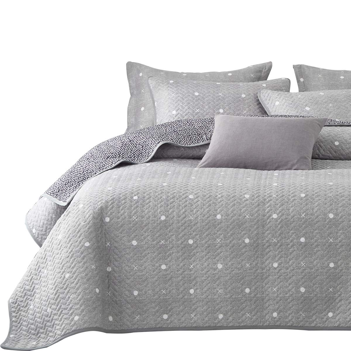 Uozzi Bedding 3 Piece Reversible Quilt Set Queen Size 92x90 Soft Microfiber Lightweight Coverlet Bedspread Summer Comforter Set Bed Cover Blanket for All Season Gray Dots & Cross (1 Quilt+ 2 Shams)