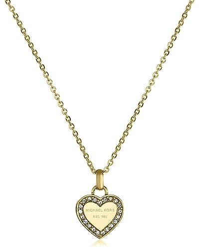 Amazoncom Michael Kors Gold Tone Logo Heart Pendant Necklace Jewelry