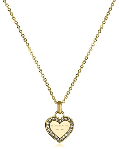 pendant s kors gold mop heart michael necklace authentic p monogram