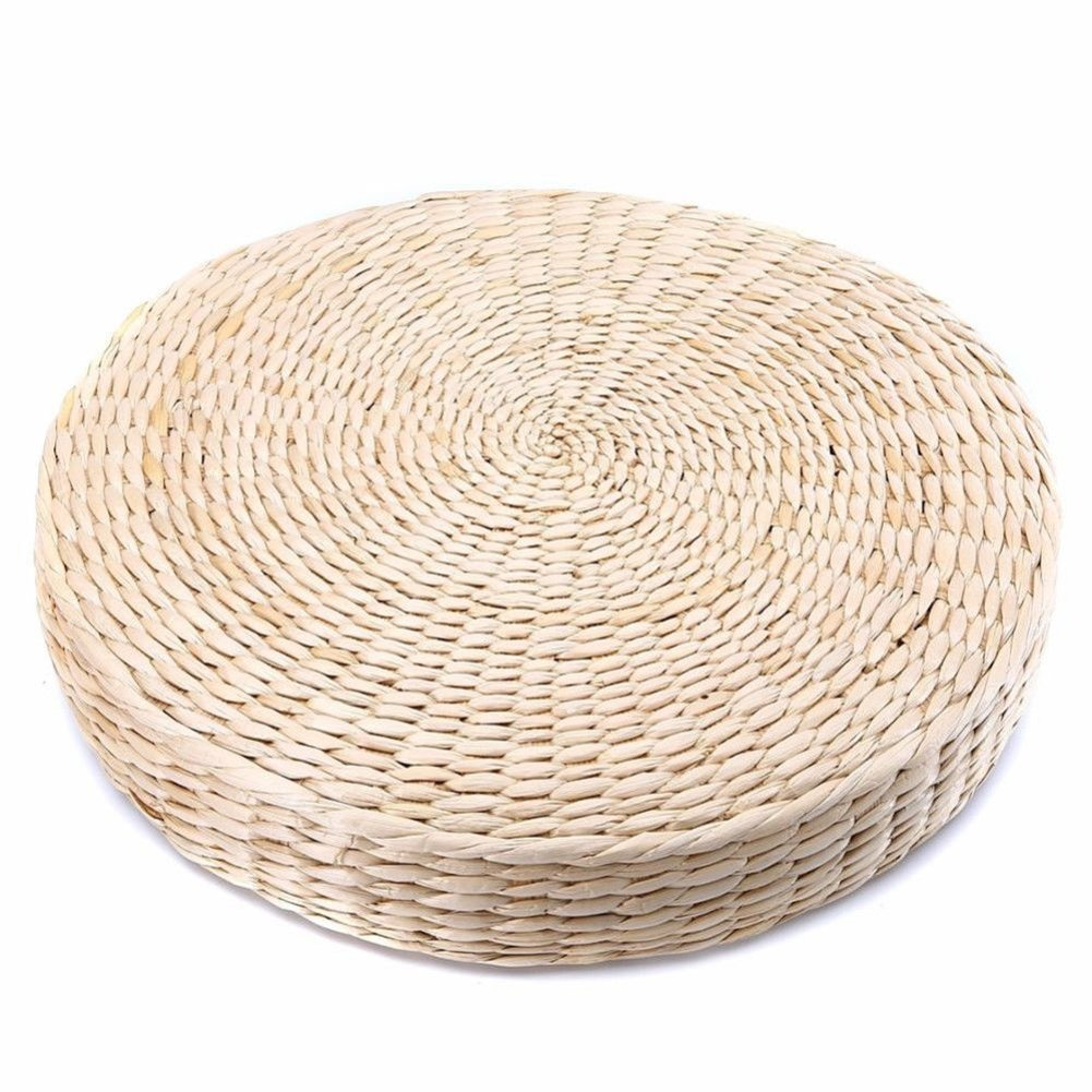 MOOUS Woven Straw Seat Cushion Pad Handmade Straw Round Tatami Yoga Floor Seat Pillow Cushions Breathable Japanese Tatami Floor Pillow Meditation Pillow for Home (4pcs) by MOOUS
