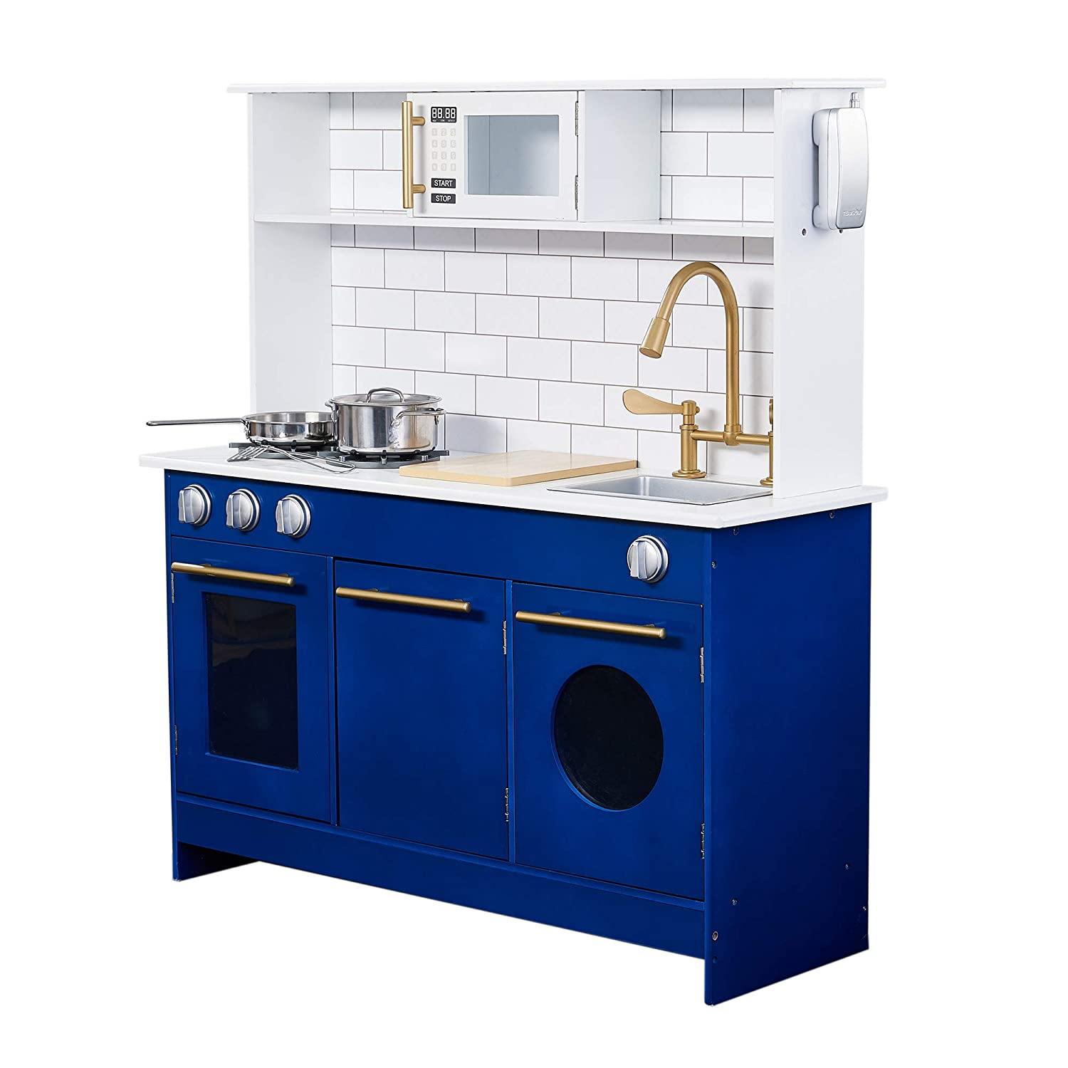 Teamson Kids TD-12681B Little Chef Berlin Modern Play Kitchen, White/Blue