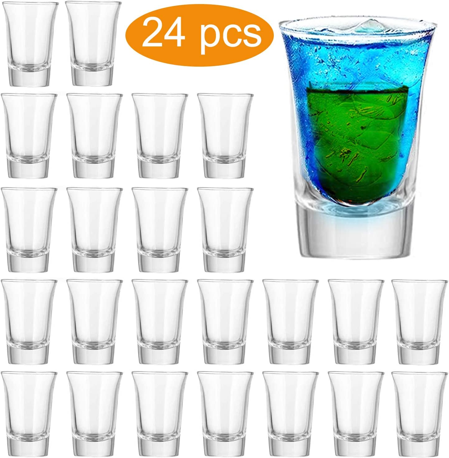 Farielyn-X Shot Glass Set with Heavy Base Bulk, 1.2 oz Clear Glasses for Whiskey and Liqueurs (24 pack)