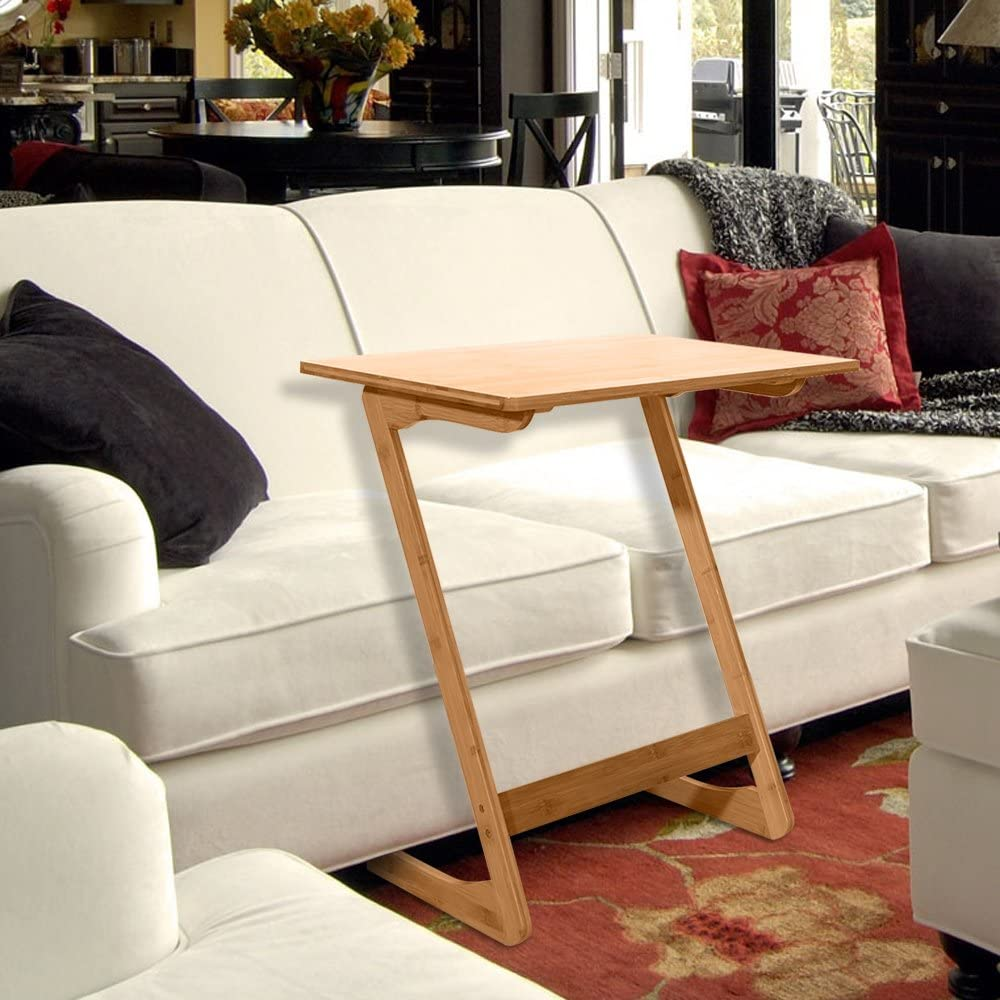 Z-Shaped Bamboo Sofa Side Table Portable Home Use Assembled Bed Table for Home Bedroom Study Office T-REASURE Sofa Table TV Tray