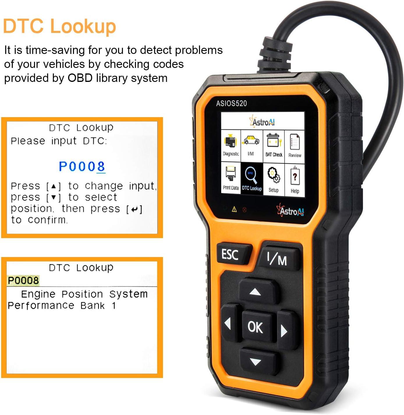 AstroAI OBD2 ASIOS520 Diagnostique Voiture Lecteur de Code de D/éfaut Scanner Outil de Diagnostic Auto pour Tester Les Syst/èmes de Moteur Valise Diagnostic Multimarque