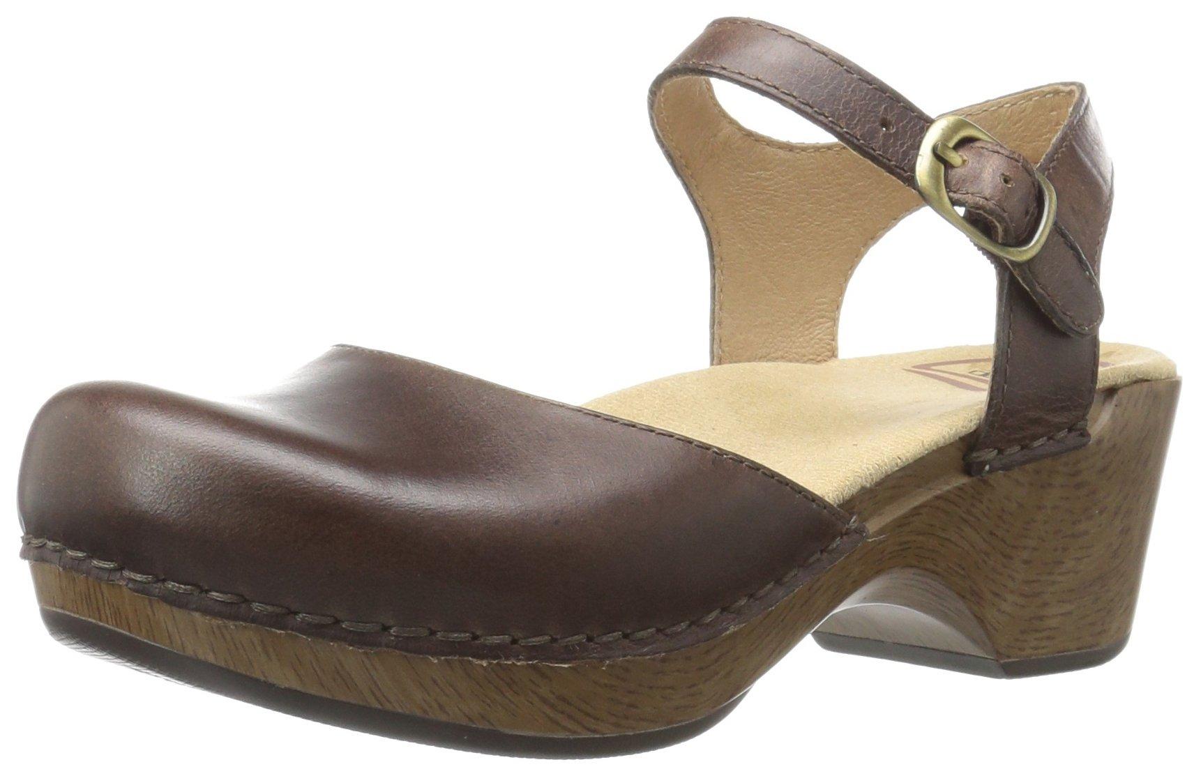 Dansko Women's Sam Flat Sandal, Teak Vintage Pull up, 38 EU/7.5-8 M US