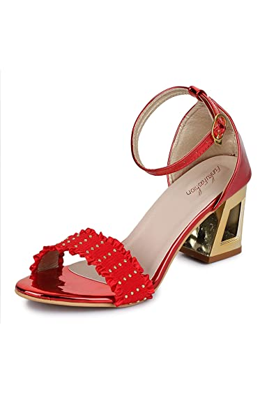 9475dd12e3a Funku Fashion Red Block Heels  Buy Online at Low Prices in India ...