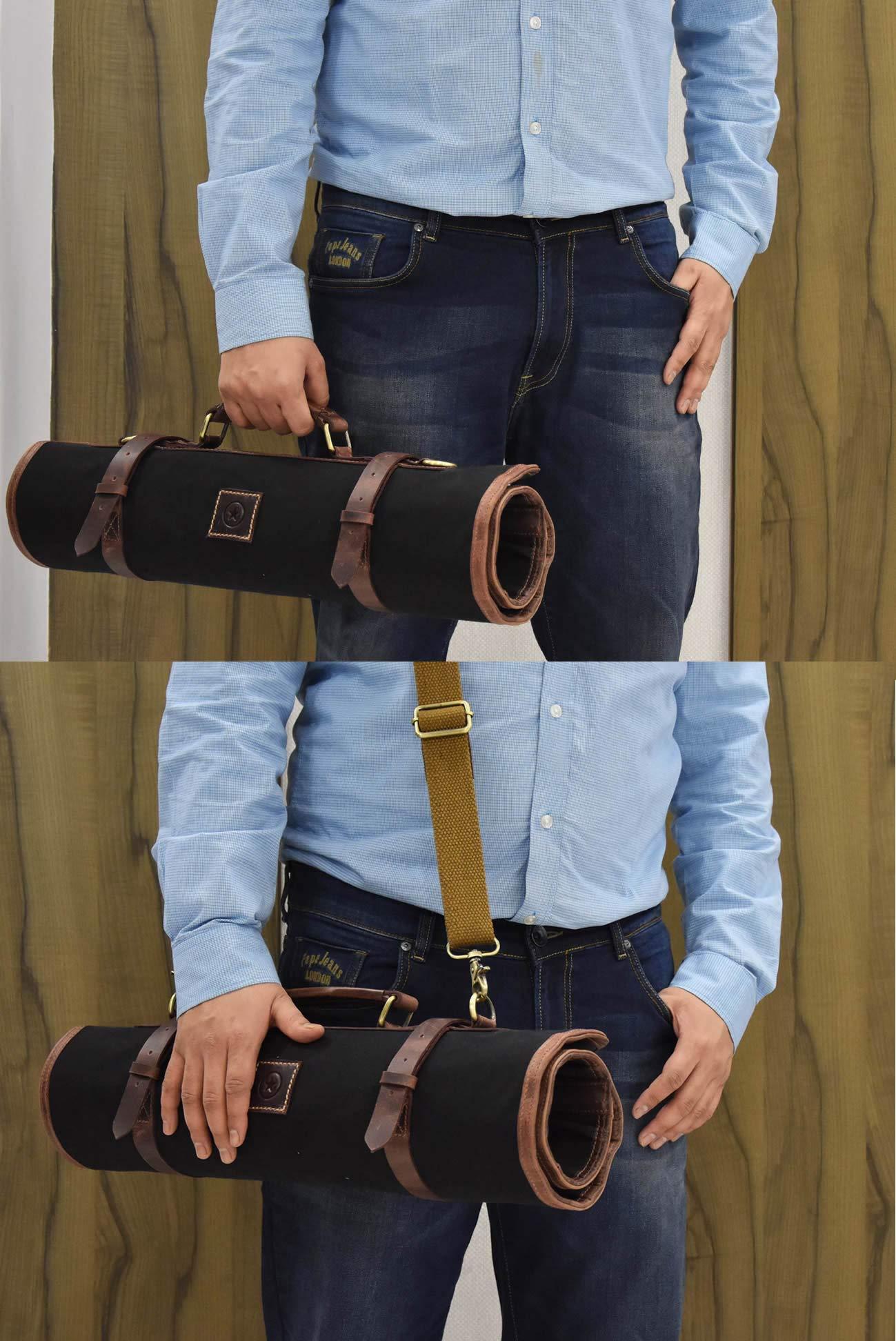 Leather Knife Roll Storage Bag   Elastic and Expandable 10 Pockets   Adjustable/Detachable Shoulder Strap   Travel-Friendly Chef Knife Case Roll By Aaron Leather (Raven, Canvas) by AARON LEATHER GOODS VENDIMIA ESTILO (Image #7)