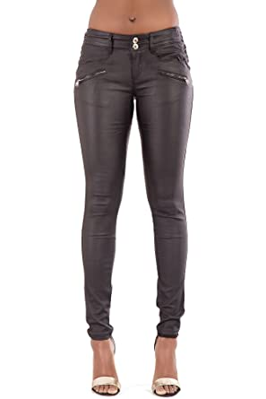 low cost classic style first look LustyChic Womens Sexy Mid Waisted Faux Leather Wet Look Skinny Fit ...