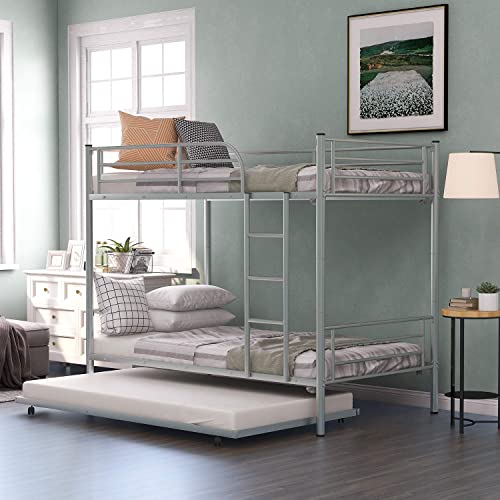 Harper Bright Designs Twin-Over-Twin Metal Bunk Bed