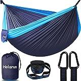 Camping Hammock for 2 person, Portable Double Hammocks Ultralight 210T Nylon Parachute Hammock with 2 Tree Straps & Carabiner
