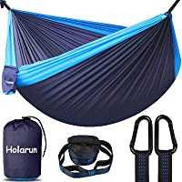 Holarun Hammock, Double Camping Hammock for 2 Adult Lightweight Parachute Hammock with Tree Straps (8+1 Loops…