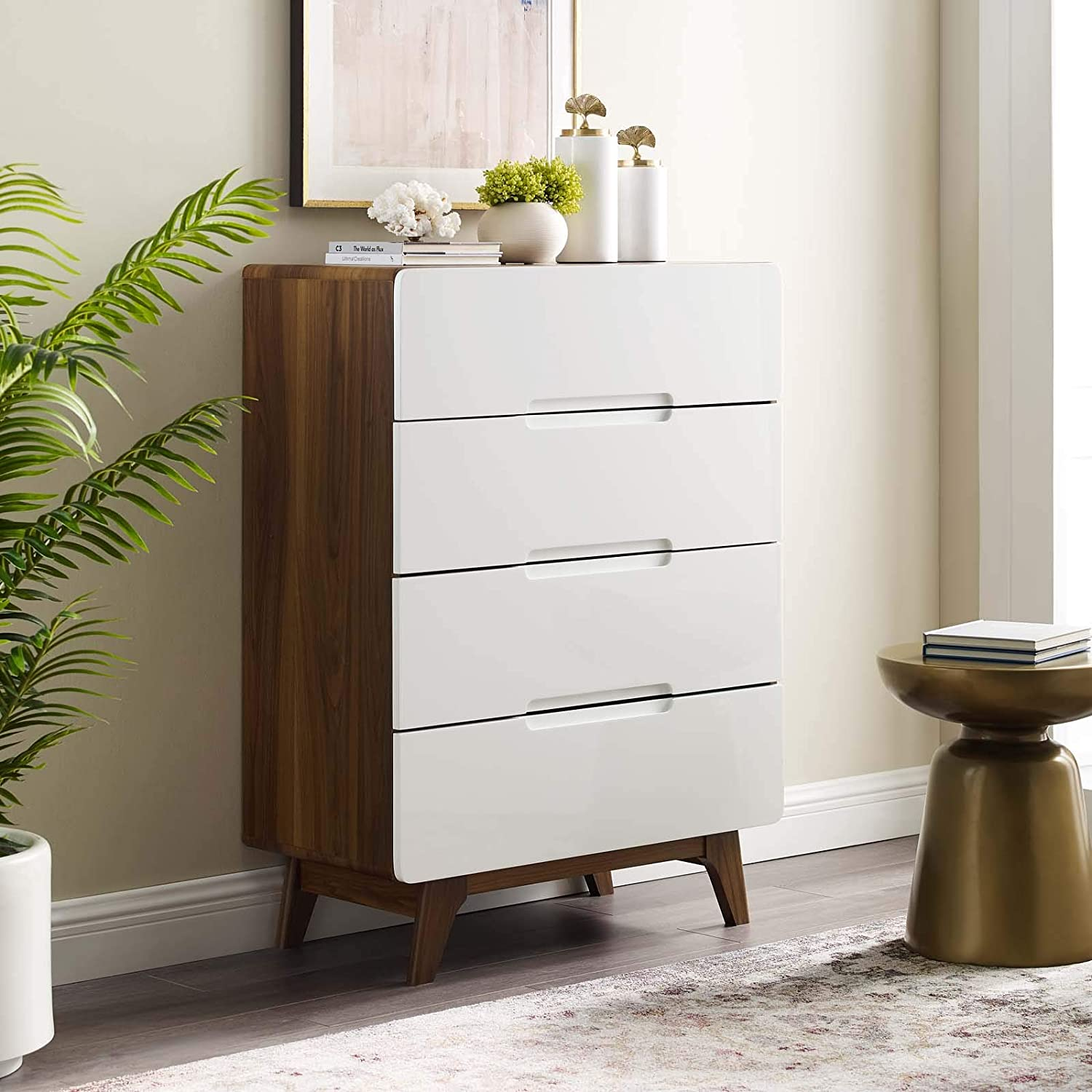 Modway Origin Contemporary Mid-Century Modern 4-Drawer Bedroom Chest in Walnut White