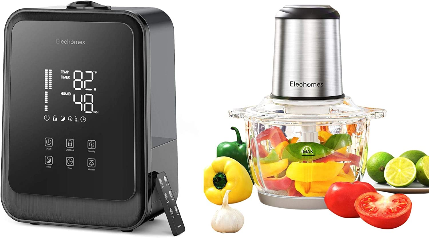 Elechomes HTJ-2119 4.5L Cool Mist Humidifier and Elechomes 8 Cup Electric Food Chopper & Processor Bundle