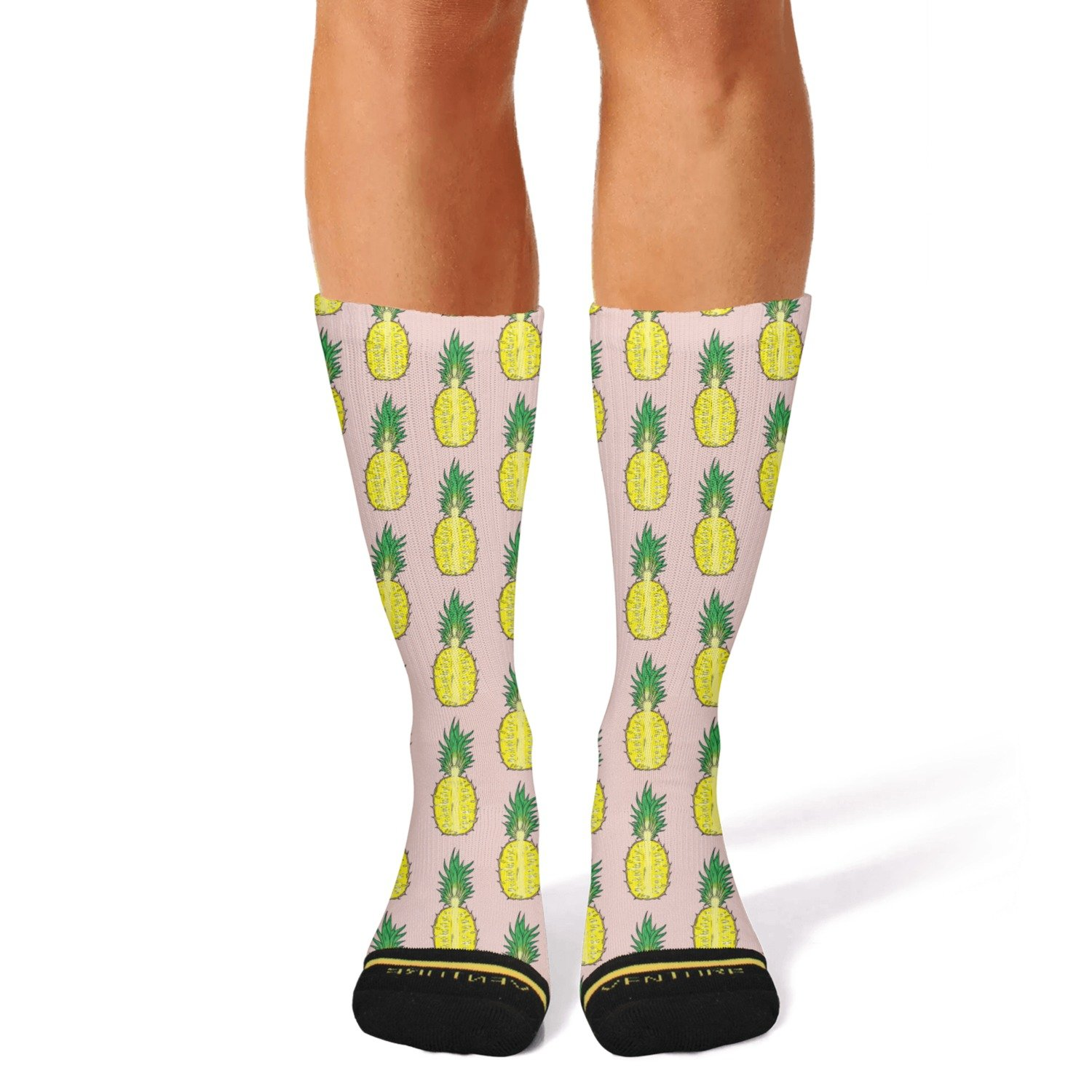 Print Fruits With Funny Pineapples Fashion Women's/mens Sporty Knee High Socks Ouawjdff