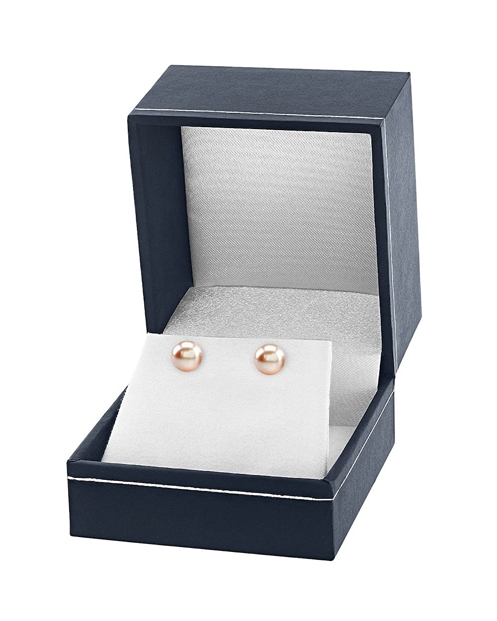 THE PEARL SOURCE 14K Gold Round Peach Freshwater Cultured Pearl Stud Earrings for Women