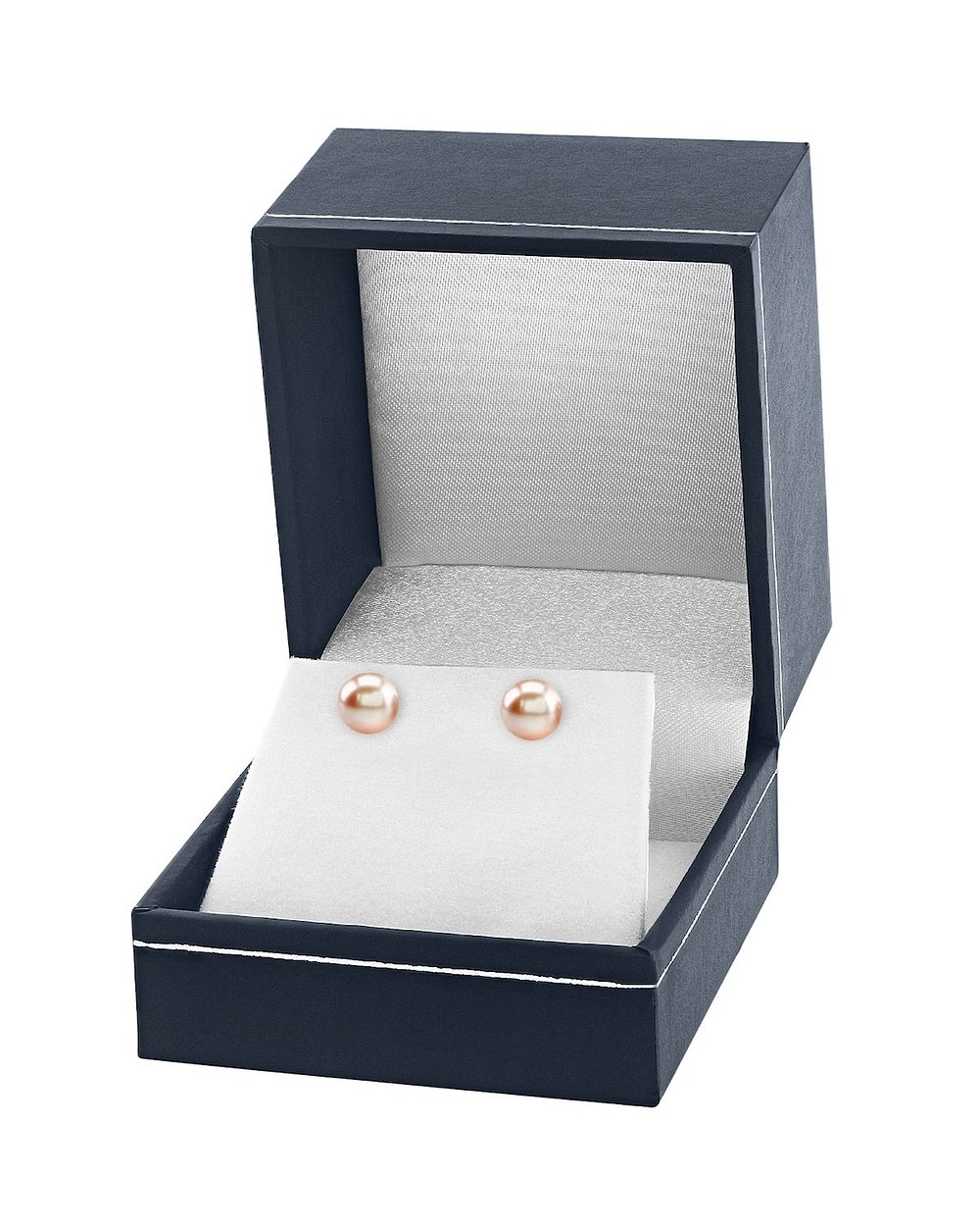 14K Gold 7-8mm AAAA Quality Round Peach Freshwater Cultured Pearl Stud Earrings Set for Women by The Pearl Source (Image #3)