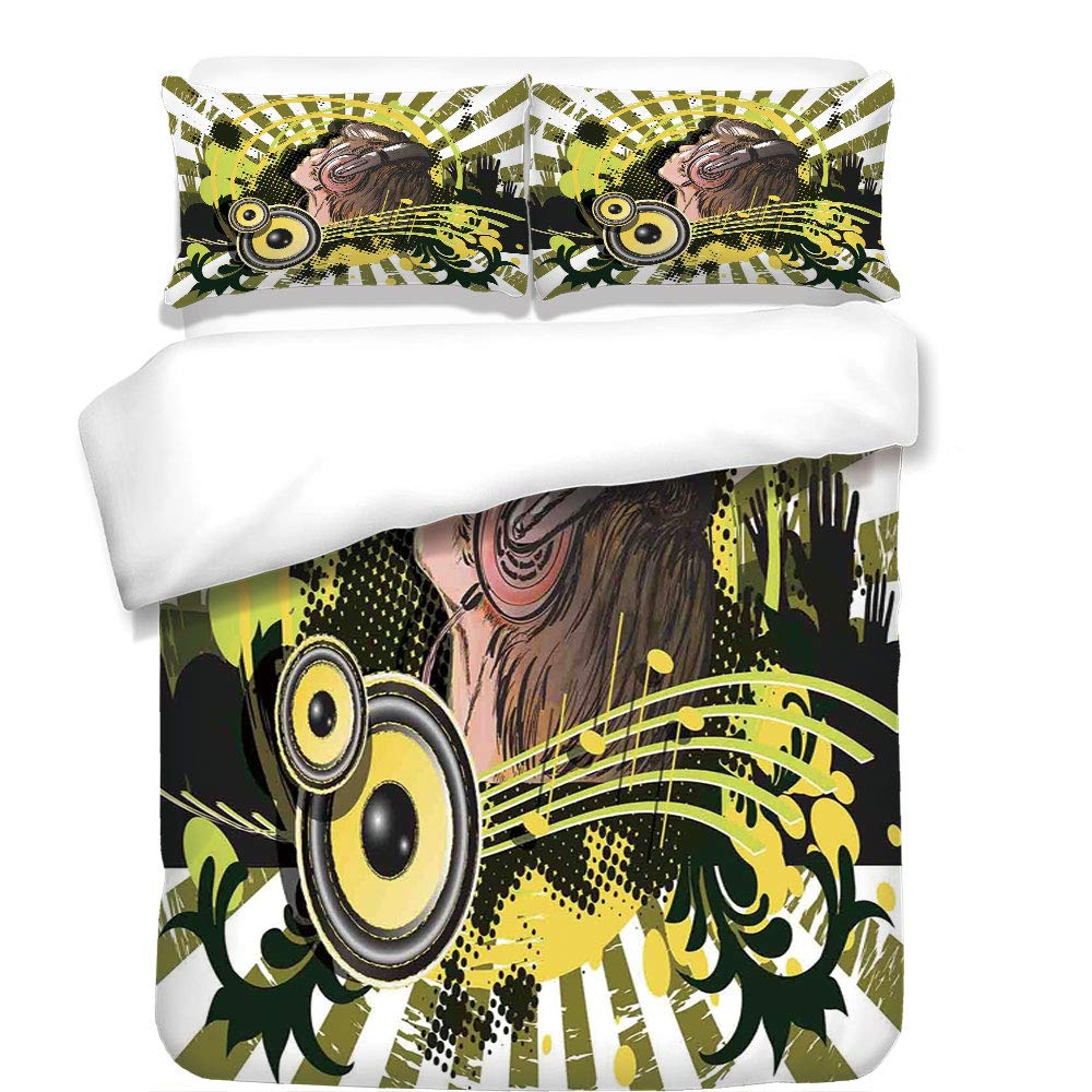 iPrint 3Pcs Duvet Cover Set,Music Decor,Abstract Illustration of a DJ Disco Headphone Dance Striped Background,Best Bedding Gifts for Family/Friends
