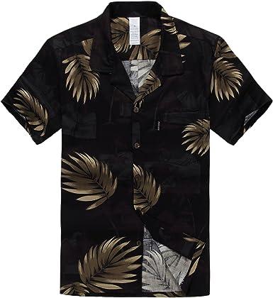 Hombres Aloha Camisa Hawaiana en Negro con Hoja de Palma Dorada: Amazon.es: Ropa y accesorios