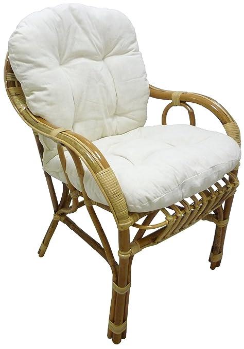 Cuscini Per Poltrone In Vimini.Sf Savino Filippo Poltrona Sedia Sole In Vimini Bambu Rattan Naturale Con Cuscino Per Casa Salotto