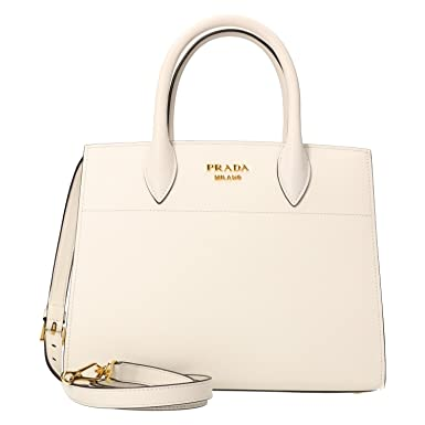 f133d410b4ae Prada 1BA050 Saffiano City White Black Leather City Bibliothèque Tote Bag   Amazon.co.uk  Clothing