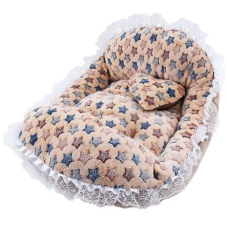 Forma de cuna de bebé Cama de perro de encaje, Camas de mascotas con colchón
