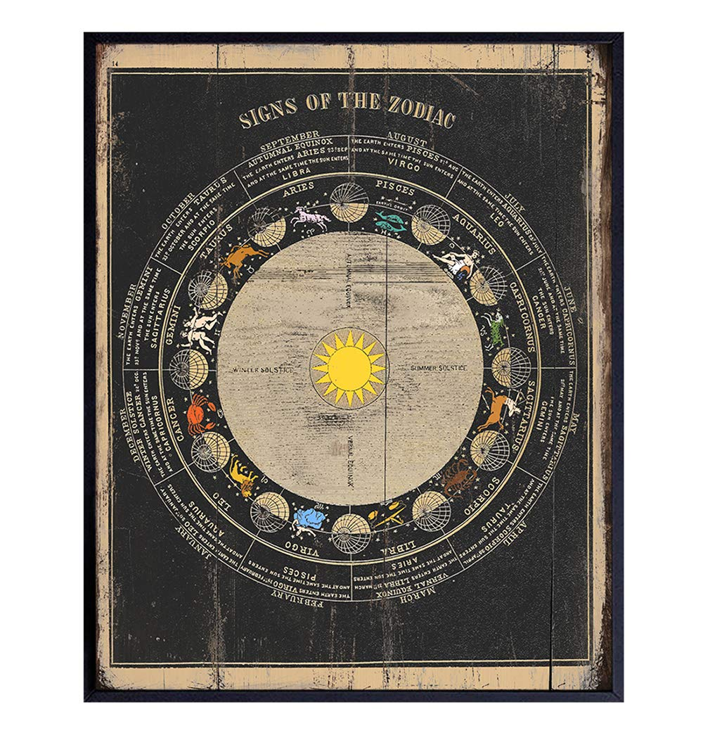 Zodiac Sign Wall Art Decor - 8x10 Astrology Poster - Cool Vintage Rustic Gift for Fortune Teller, Astronomy, Occult Fans - Astrological, Astronomical Decoration for Bedroom, Living Room, Home, Office