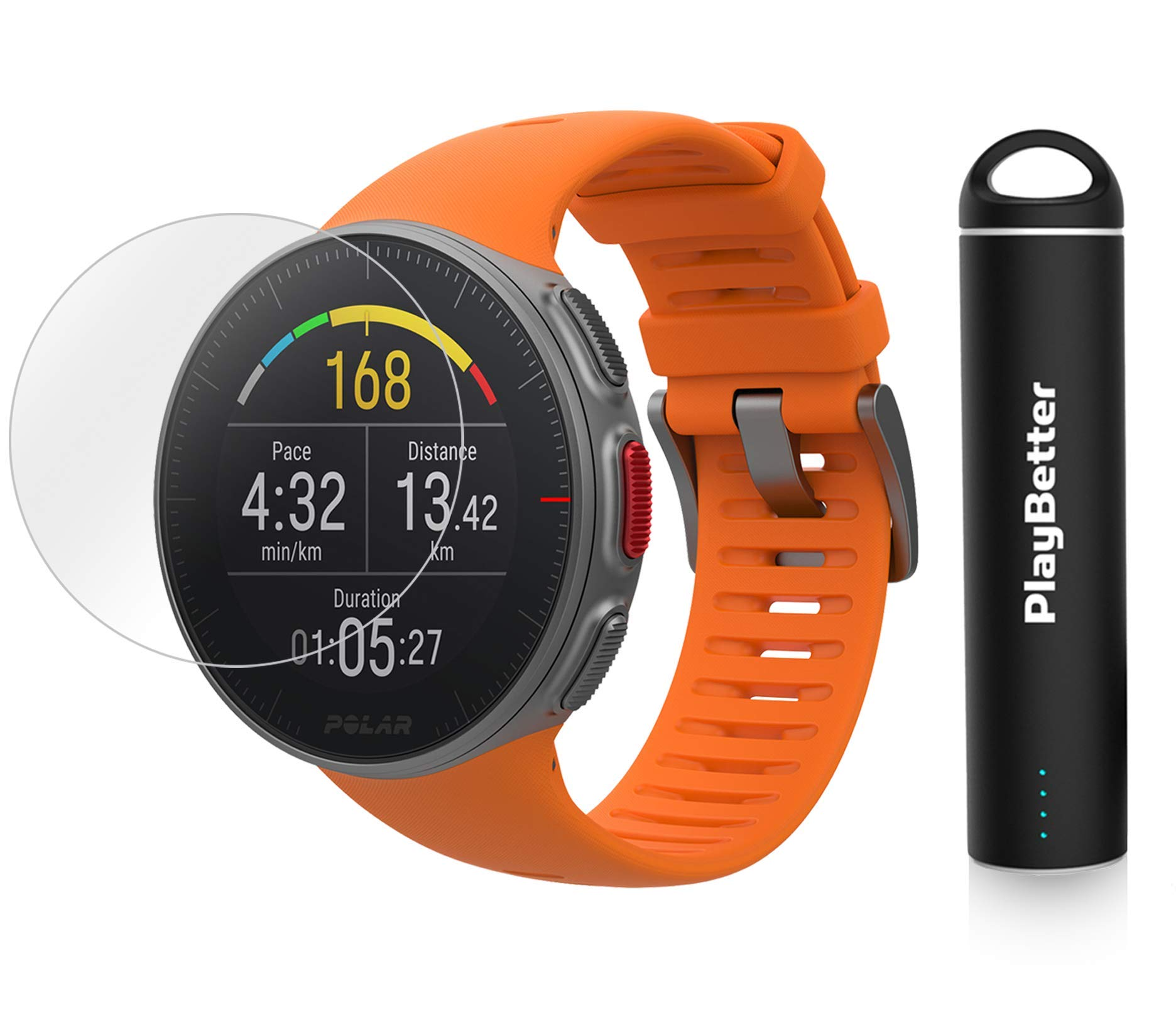 PlayBetter Polar Vantage V Pro Multisport Watch (Orange) Power Bundle Portable Charger & Screen Protectors | GPS & Barometer | Heart Rate by PlayBetter (Image #1)
