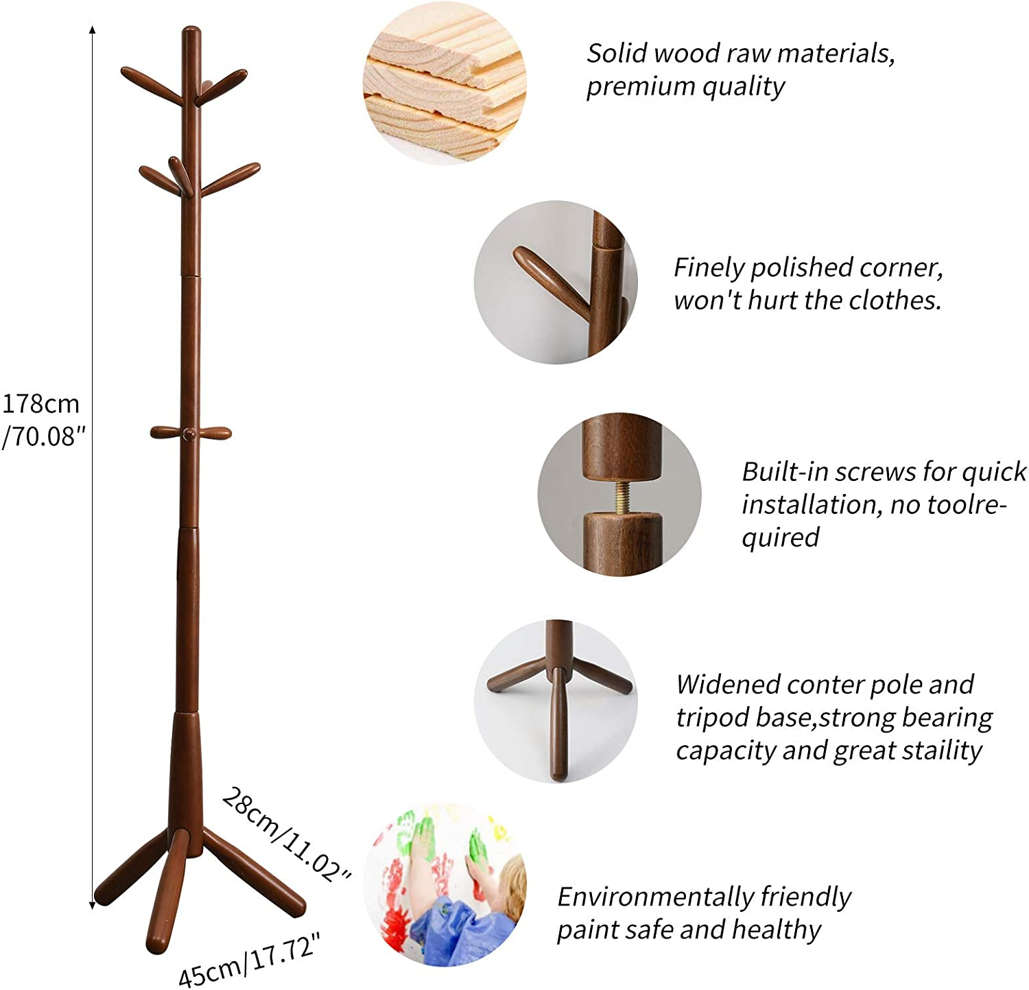 9 Hooks, Umbrella- Scarves Purse Entryway Hall Tree Coat Tree with 3 Wood Prong Legs for Hat Easy Assembly Brown URF-1210 Handbags Clothes YMYNY Wooden Coat Rack Stand