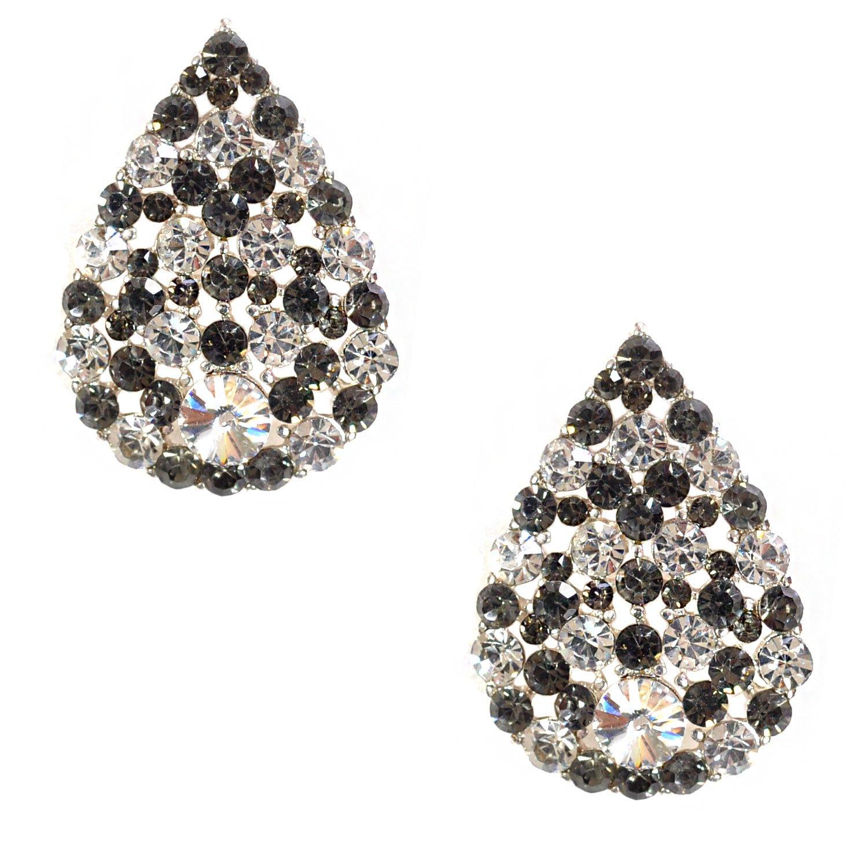 Black Diamond Hoop Earrings  Diamond Earrings  Teardrop Hoops  Tear Drop Earrings  Raindrop Hoop Earrings  Bohemian Jewelry  April