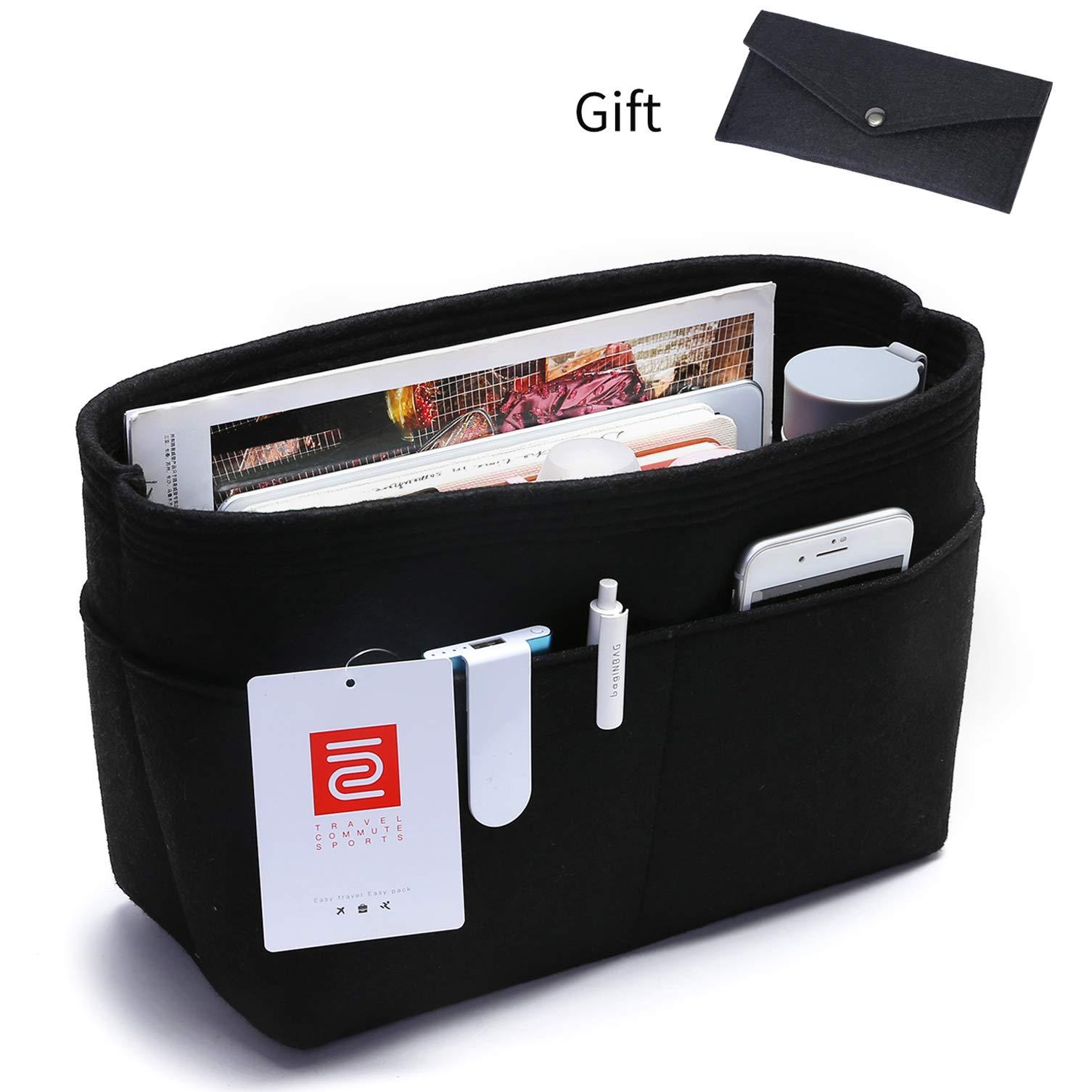 IN Felt Purse Organizer,Handbag Organizer Insert for neverfull Tote bag Medium Multi-Pocket Purse Liner Bag Divider Shaper Black,Grey (Medium: Fit LV Neverfull Medium, Black)