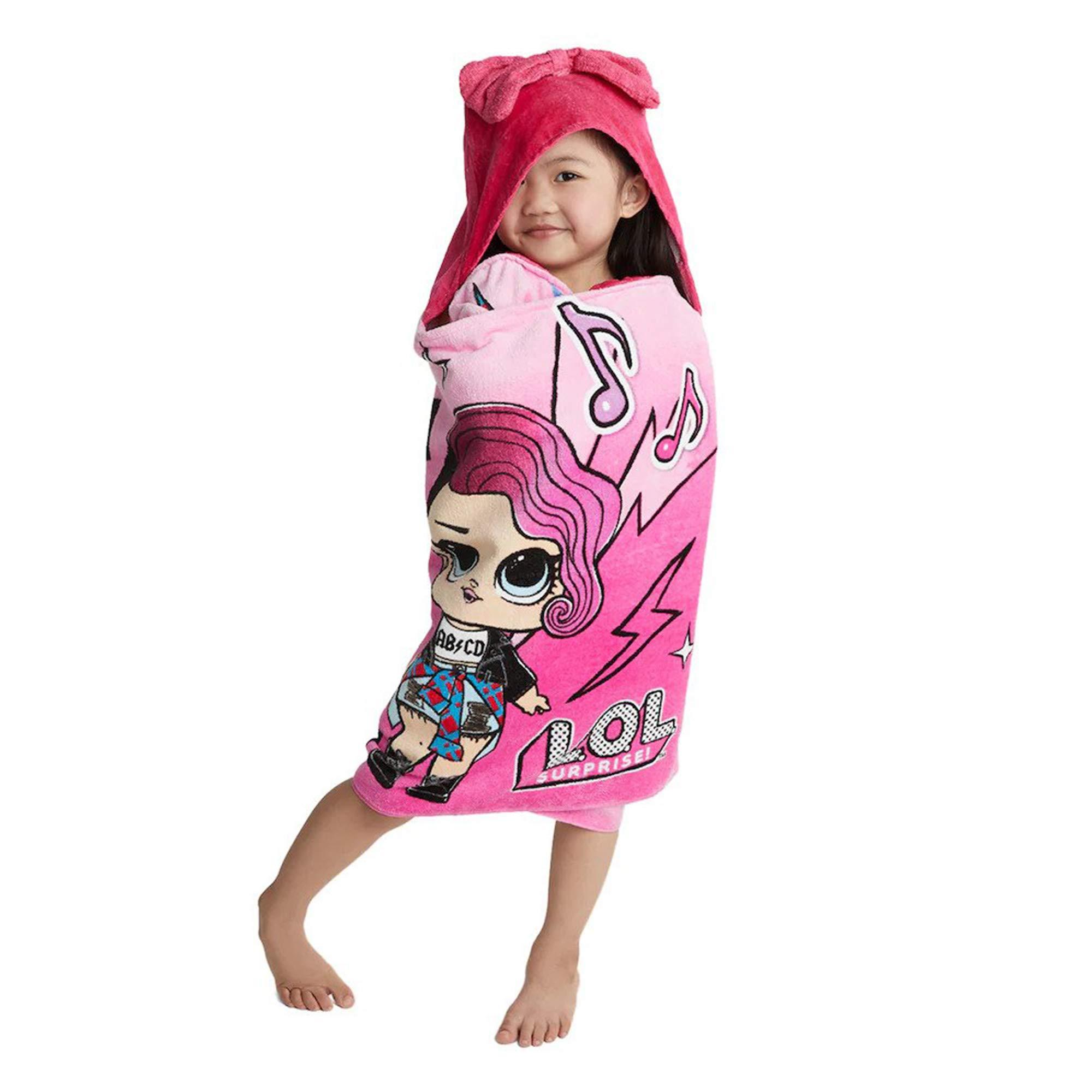 L.O.L. Surprise! Soft Cotton Hooded Bath Towel Wrap 24'' x 50'' Pink by L.O.L. Surprise!