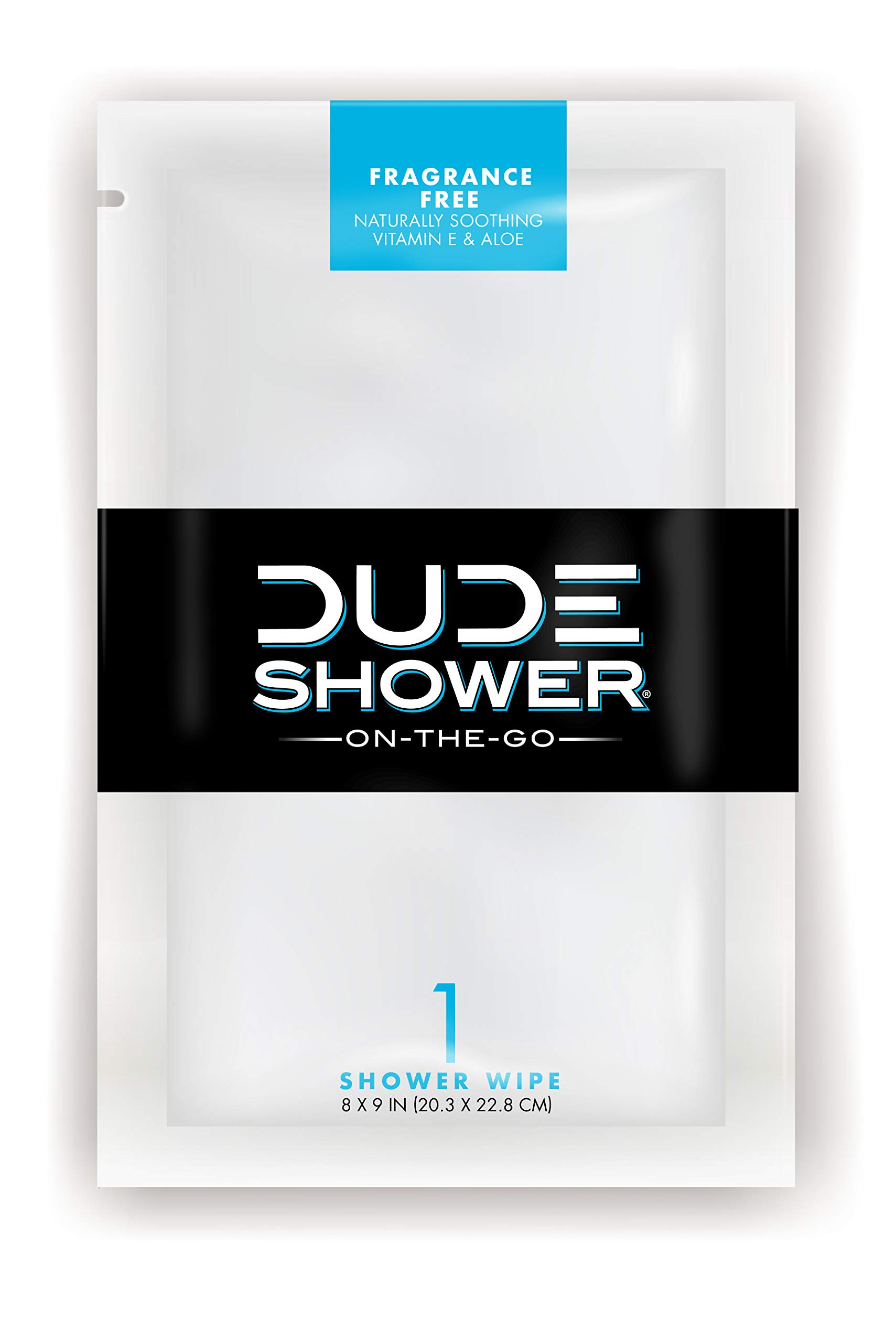 DUDE Shower Body Wipes 300pk On-The-Go Singles for Travel Unscented Naturally Soothing Aloe and Hypoallergenic