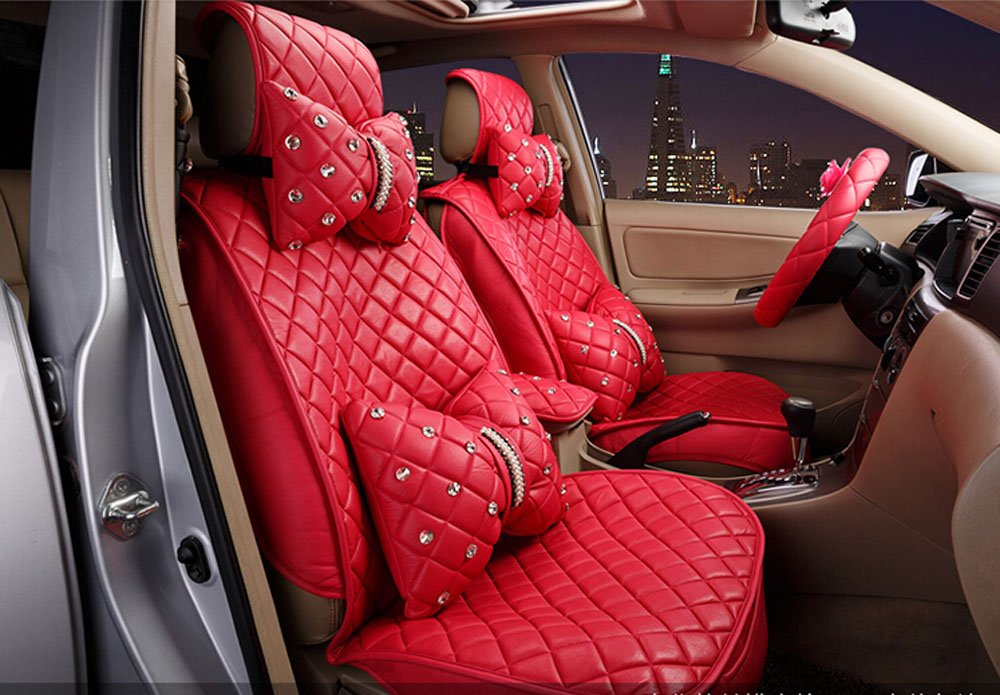 18pc superior quality luxury red Seat Covers imitation leather Seating Universal Full Set car seat cover Easy to install Fit Most Car by Maimai88 (Image #1)