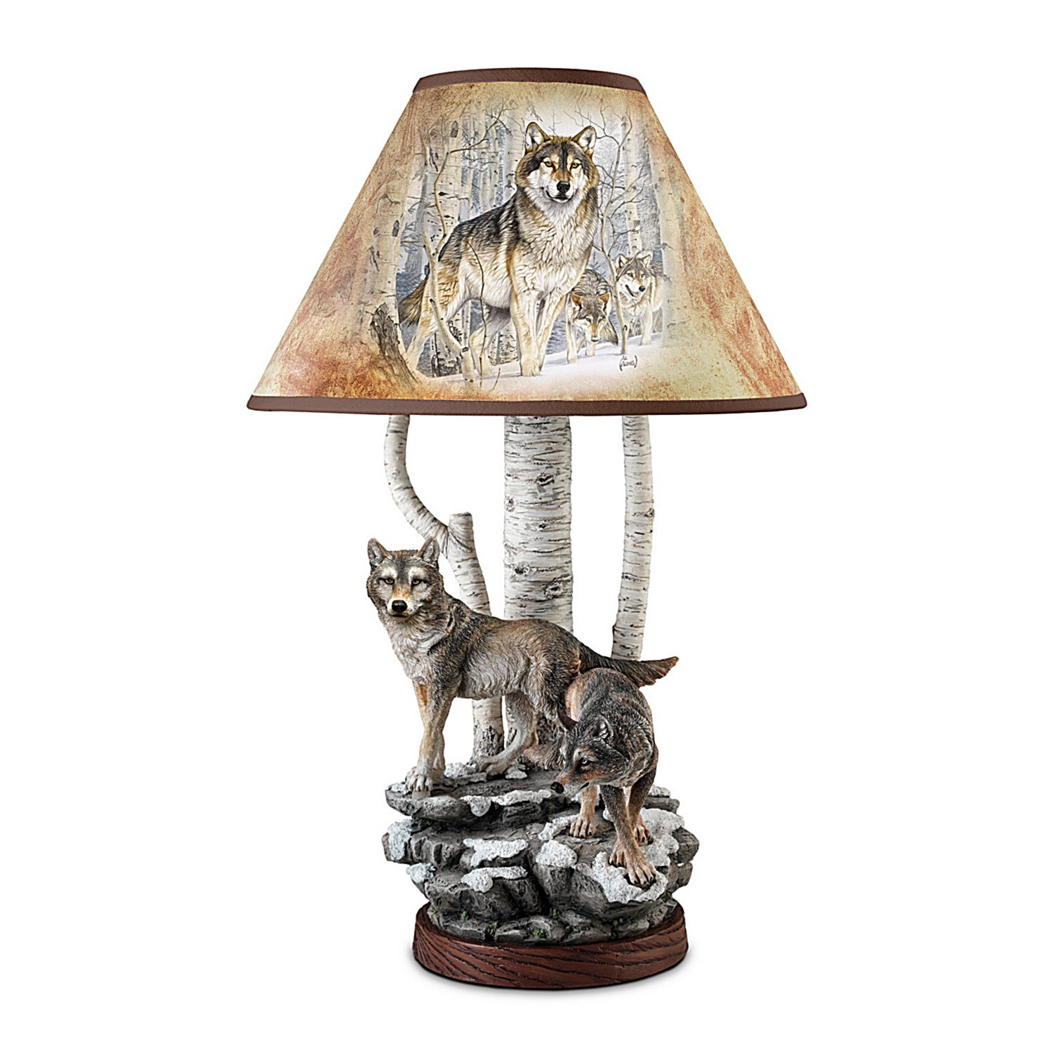 Al Agnew Spirit of the Forest Wolf Art Table Lamp by The Bradford Exchange by Bradford Exchange
