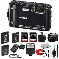Nikon COOLPIX W300 Waterproof Underwater Digital Camera Bundle with 2X 64GB Memory Cards + Spare Battery + LED Light (Black) 26523