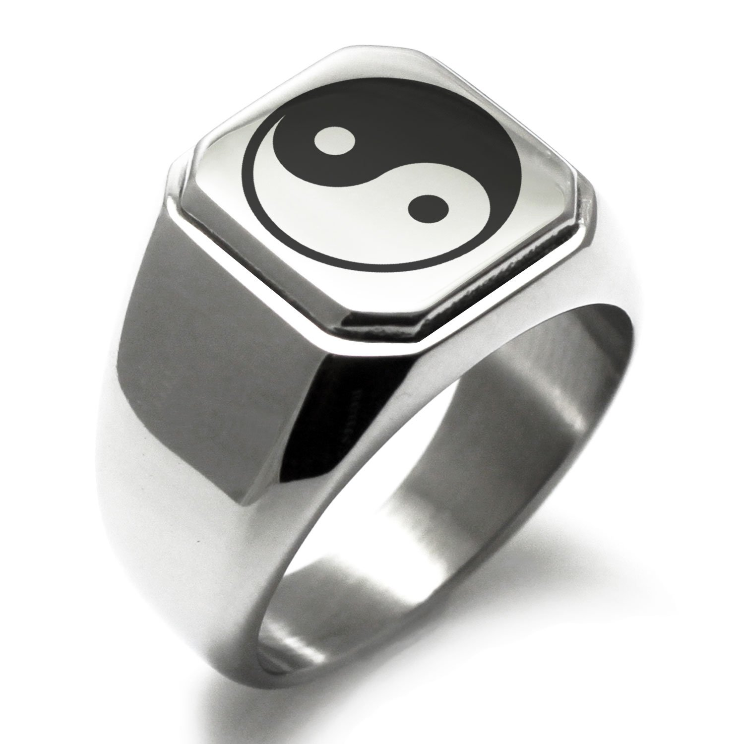 Stainless Steel Yin Yang Symbol Engraved Square Flat Top Biker Style Polished Ring, Size 9