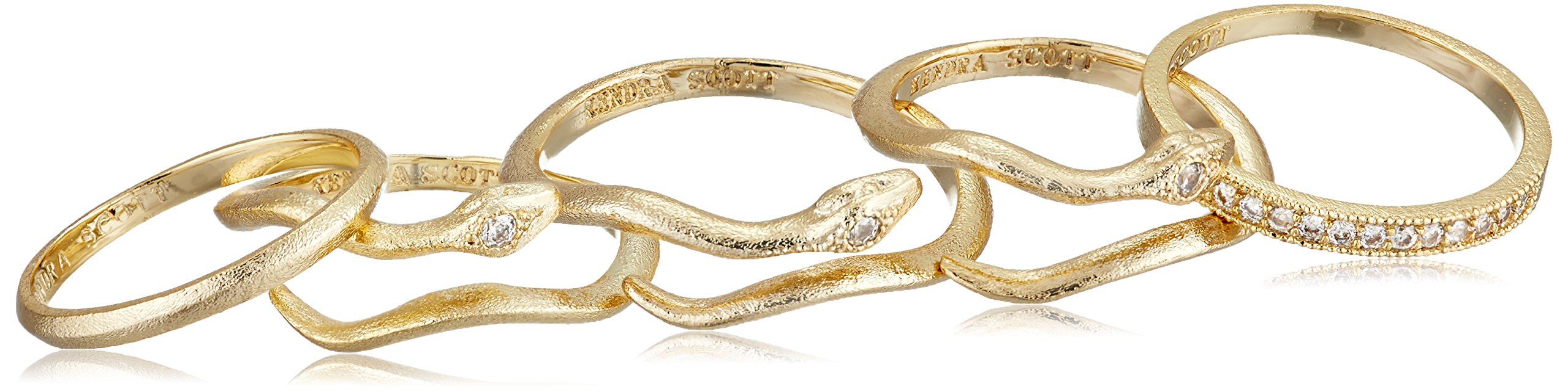 Kendra Scott Warner Gold-Plated Pave Cubic Zirconia Adjustable Midi Rings, Size 3-5