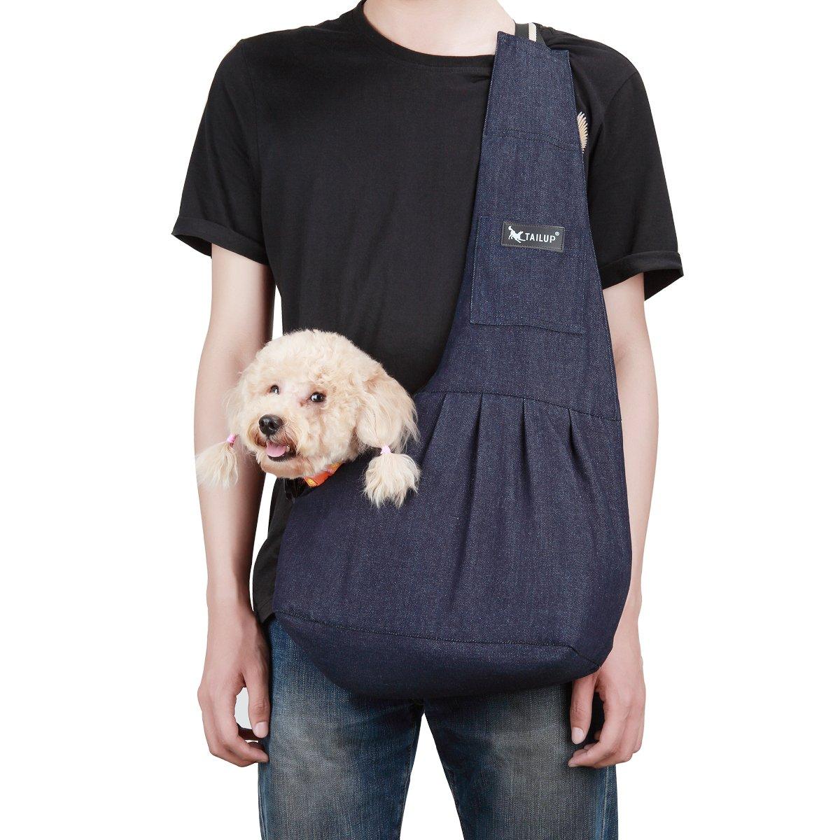 BLUE S TAIL UP Pet Carrier Sling, Shoulder Bag con Slide Strap regolabile per i piccoli cani, gatti o conigli, Hands -Free Outdoor Pet Carrier, Puppy Carrier Tragvel Bag (S, Blue)