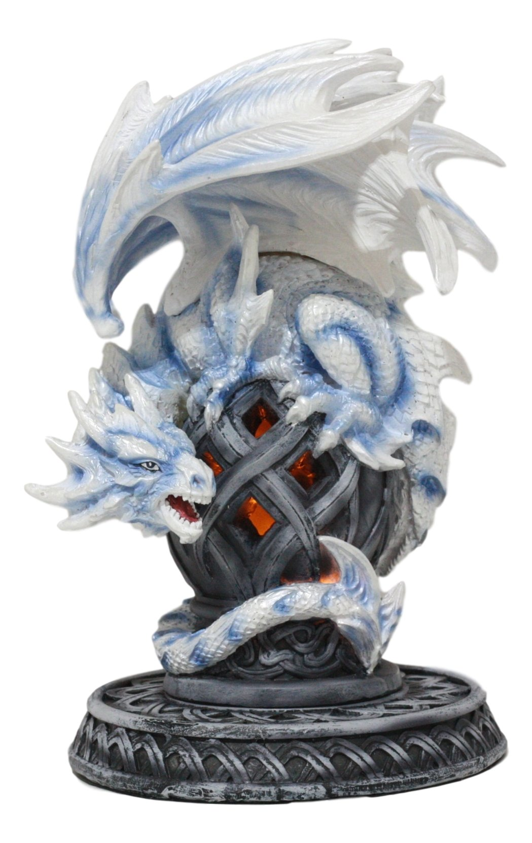 Ebros Guardian of Celtic Tomb White Icycle Dragon Backflow Cone Incense Holder Statue 8.5''Tall Fantasy Icelandic Dragon LED Tea Light Candle Holder Figurine